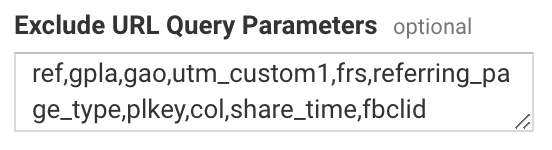 exclude fbclid url query parameters